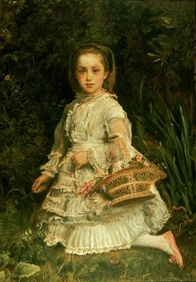 Portrait of Gracia, full length, wearing a white dress, picking wild flowers Poster Art Print by Sir John Everett Millais