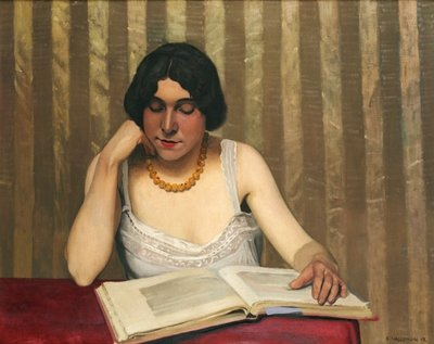 Fine Art Print of Reader with a Yellow Necklace, 1912 by Felix Edouard Vallotton