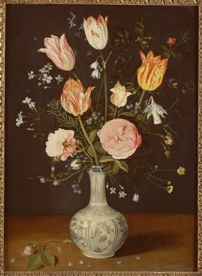 Tulips, roses, forget-me-nots and other flowers in a late Ming blue and white vase Poster Art Print by Jan Brueghel
