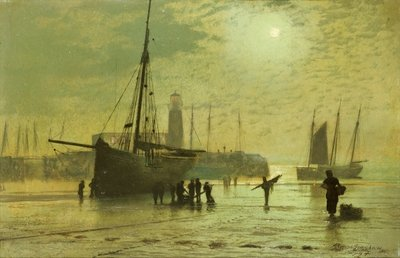 Fine Art Print of The Lighthouse at Scarborough, 1877 by John Atkinson Grimshaw