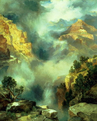 Mist in the Canyon, 1914 Poster Art Print by Thomas Moran