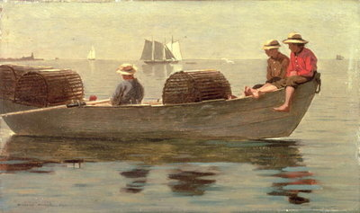Fine Art Print of Three Boys in a Dory, 1873 by Winslow Homer