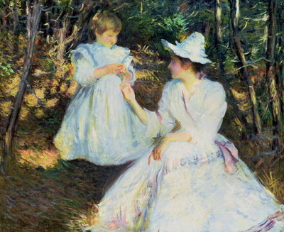 Fine Art Print of Mother and Child in Pine Woods, c.1893 by Edmund Charles Tarbell