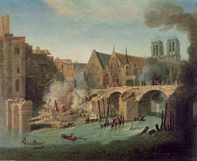 Fine Art Print of The Burning of the Petit Pont in 1718 by Jean-Baptiste Oudry