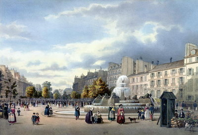 Fine Art Print of The Fountain of the Boulevard St. Martin, from 'Vue de Paris', c.1840 by Philippe Benoist
