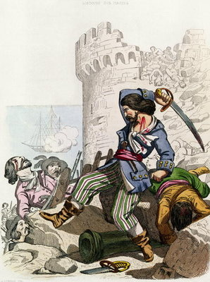 The Chevalier de Gramont, from 'Histoire des Pirates' by P. Christian, engraved by A. Catel, 1852 Poster Art Print by Alexandre Debelle