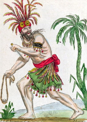 Fine Art Print of A Savage from the Marquesas Islands, from 'Encylopedie des Voyages', engraved by J. Laroque, 1796 by Jacques Grasset de Saint-Sauveur