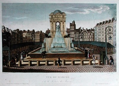 Fine Art Print of View of the Marche des Innocents, engraved by Eugene Dubois, c.1815-20 by Henri Courvoisier-Voisin