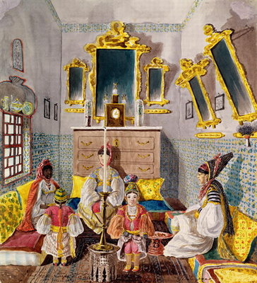 Fine Art Print of Algerian Interior, c.1835 by Theodore Leblanc