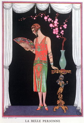 Worth evening dress, fashion plate from Gazette du Bon Ton, 1925 Poster Art Print by Georges Barbier