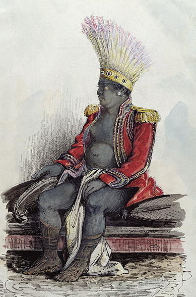 King Temoana on the island of Nuka-Hiva dressed in the uniform of a French colonel, c.1841-48 Poster Art Print by Maximilien Radiguet