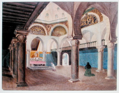 Fine Art Print of Interior of a Mosque Converted into a Bishop's Palace, Algiers, c.1835 by Theodore Leblanc