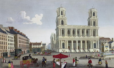 Fine Art Print of The Place Saint Sulpice, c.1815-20 by Henri Courvoisier-Voisin