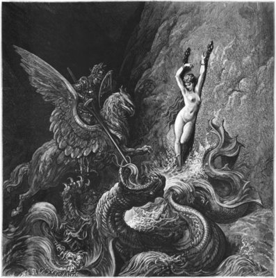 Ruggiero rescuing Angelica, illustration from Canto X of 'Orlando Furioso' by Ludovico Ariosto Poster Art Print by Gustave Dore
