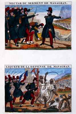 Fine Art Print of Liqueur bottle labels depicting the Battle of Masagran by French School