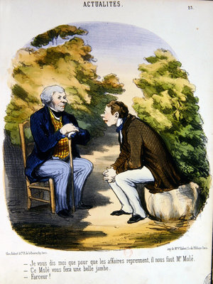 Two men discussing politics and the usefulness of the Comte de Mole Poster Art Print by Honore Daumier
