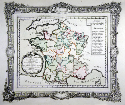 Map of the 24 French Universities, the Academies and other Literary Societies in France, 1766 Poster Art Print by French School
