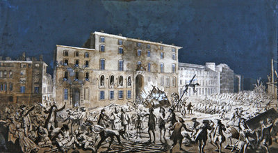 Fine Art Print of Riot at Lyon, 27th November 1768 by French School