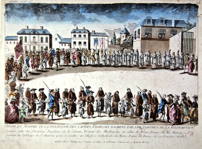 Procession in Paris of French prisoners released from captivity in Algeria by payment of ransom, 1785 Poster Art Print by French School