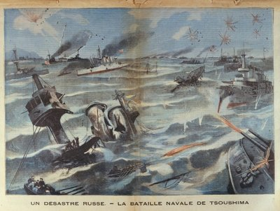 Fine Art Print of Russian naval disaster during the battle of Tsushima in 1905, illustration from 'Le Petit Parisien', 2 July, 1906 by French School