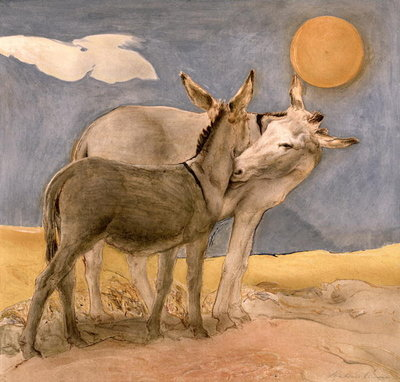 Donkeys, 1989 (fresco) by Antonio Ciccone - print