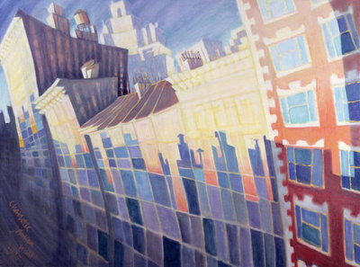 Sunset, Waverly Place, New York City, 1995 (oil on canvas) by Charlotte Johnson Wahl - print