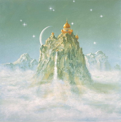 Temple in the Mountain (acrylic on canvas) by Simon Cook - print
