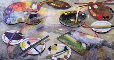 Spectrum of Artists' Palettes, 2003 (oil on canvas) by Charlotte Moore - print