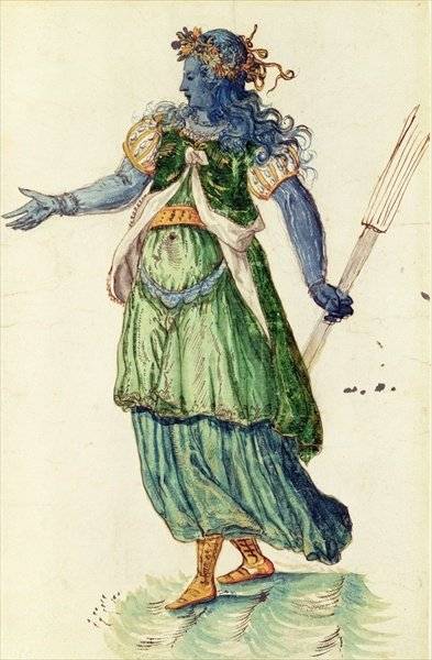 Costume design for the Torchbearer of Oceania from 'The Masque of Blackness' by Ben Johnson by Inigo Jones - print