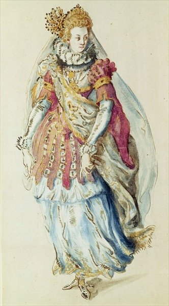 Costume design for a Lady Masquer, 1610 by Inigo Jones - print