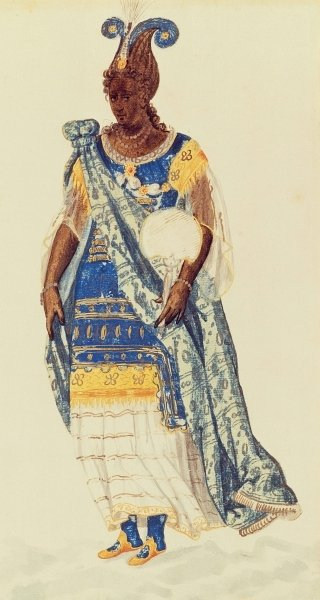 Costume design for the Daughter of Niger from 'The Masque of Blackness' by Ben Jonson by Inigo Jones - print