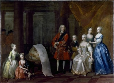 Group portrait of Frederick, Prince of Wales, with his brother the Duke of Cumberland and their five sisters, 1730 by William Aikman - print
