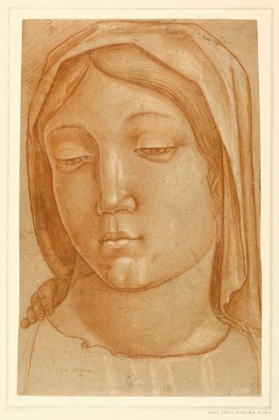 Fine Art Print of Head of the Virgin, with the fingers of a child's hand on her right shoulder, after Cosimo Tura by Italian School