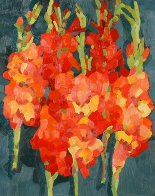 Cornish Gladioli, 2006 (oil on canvas) by Deborah Barton - print