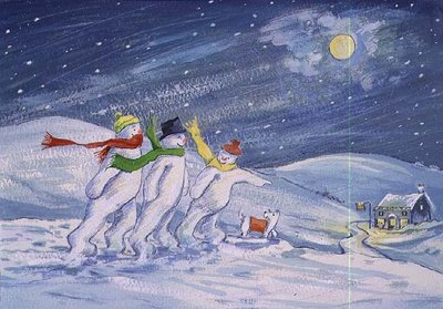 Snowmen on their way to the Pub by David Cooke - print