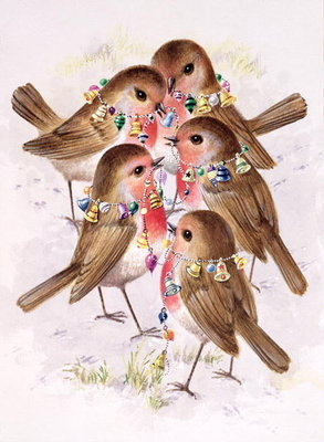 Christmas Robins Poster Art Print by Stanley Cooke