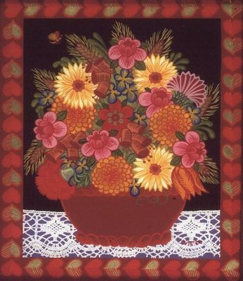 Brown Flowerbowl (painted on glass) by Ditz - print