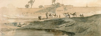 Fine Art Print of Outside Bab il Cadit, Cairo, 1859 by Carl Haag