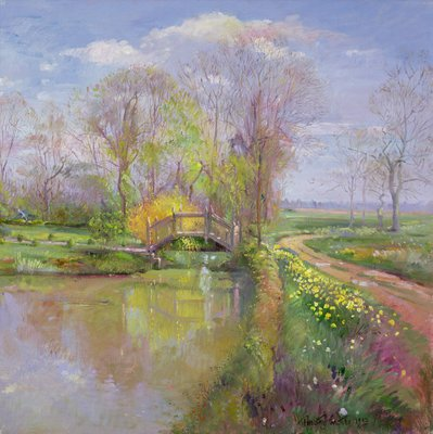 Spring Bridge, 1992 (oil on canvas) by Timothy Easton - print