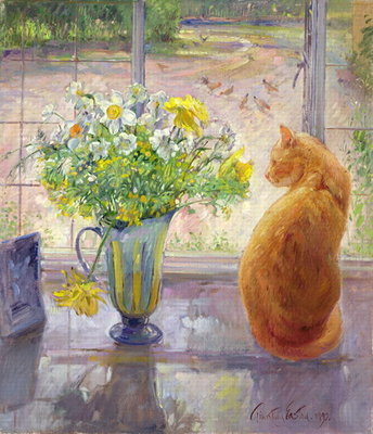 Striped Jug with Spring Flowers, 1992 by Timothy Easton - print