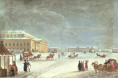 Fine Art Print of View of the Square and the Grand Theatre, St Petersburg by French School