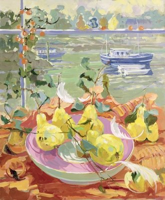 Pink Plate of Pears Poster Art Print by Elizabeth Jane Lloyd