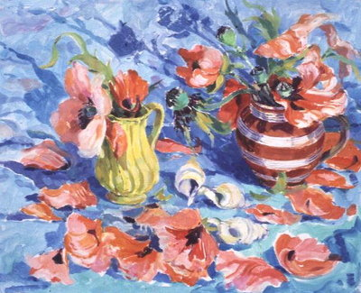 Poppies in a Red-Striped Jug Poster Art Print by Elizabeth Jane Lloyd