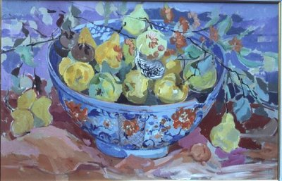 Quinces in a Delft Bowl Poster Art Print by Elizabeth Jane Lloyd