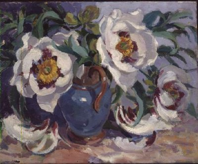 White Peonies in a Blue Jug Poster Art Print by Elizabeth Jane Lloyd