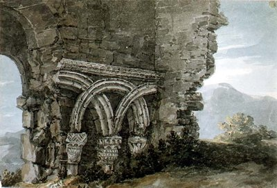 Fine Art Print of No.3204 Saxon capitals in the walls of the church of the Hospice of St. James, Dunwich, Suffolk, 1786 by Thomas Hearne