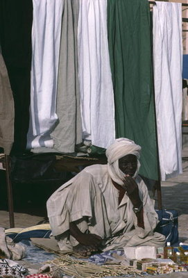 Fine Art Print of Vendor on the market place by Anonymous