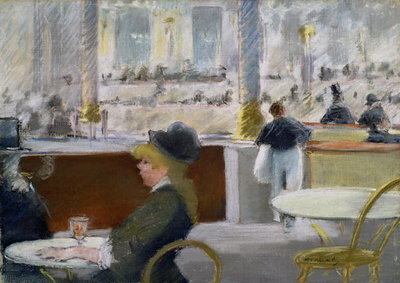 Fine Art Print of A Cafe, Place du Theatre Francais, c.1877-78 by Edouard Manet