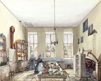 Fine Art Print of The Kitchen at Aynhoe, 3rd February 1847 by Lili Cartwright