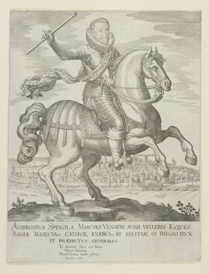 Fine Art Print of Ambrosio Spinola on Horseback before the Town of Oppenheim, after 1620 by German School